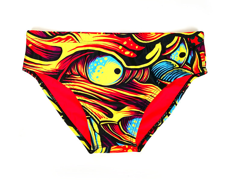 bright swimming briefs - dragon design