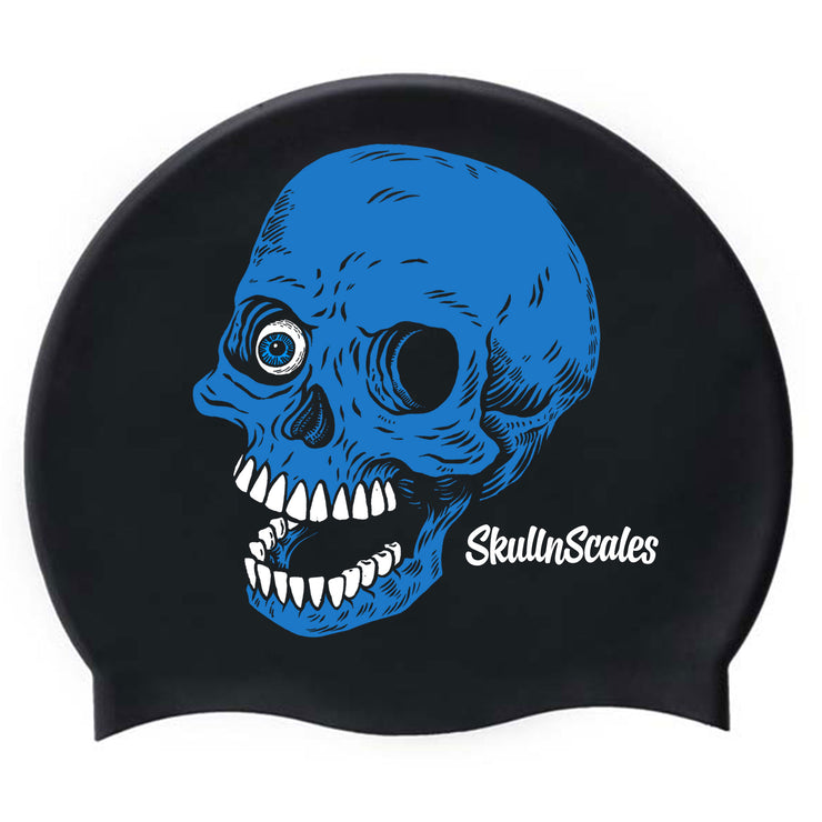 swimming hat with a skull on it