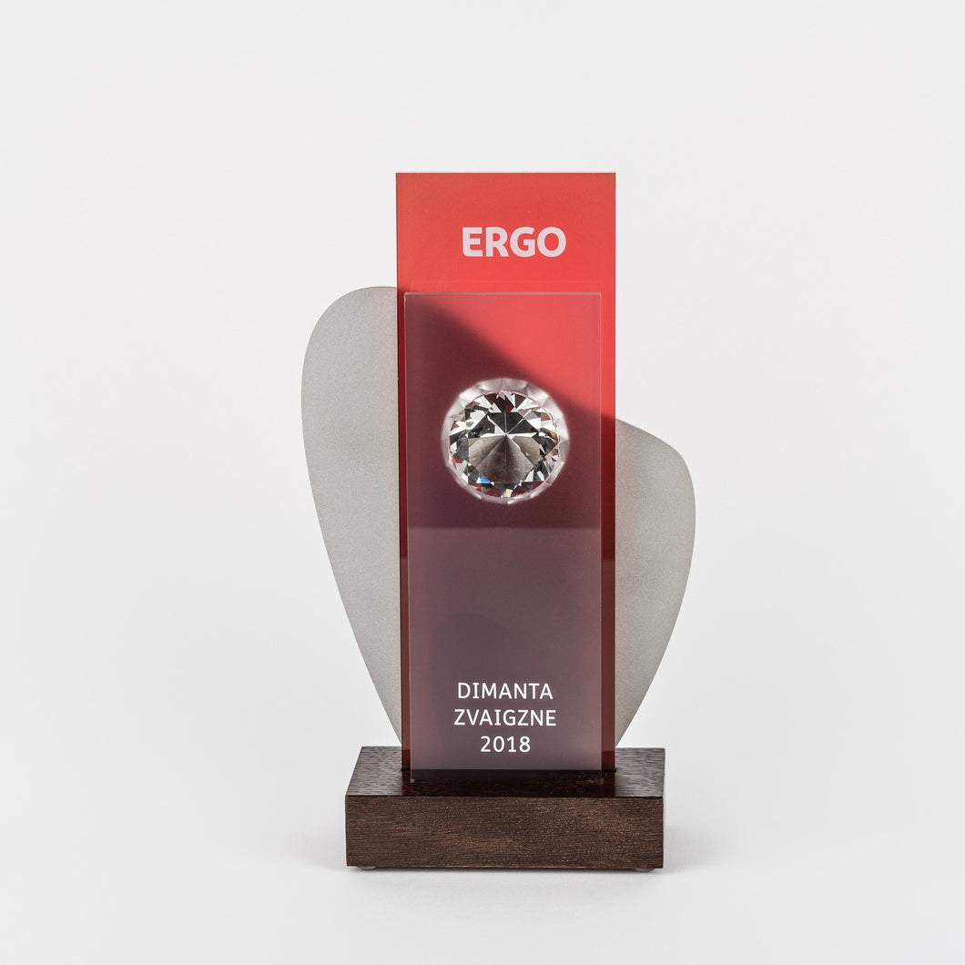 Bespoke glass diamond metal trophy-Awards and medal studio