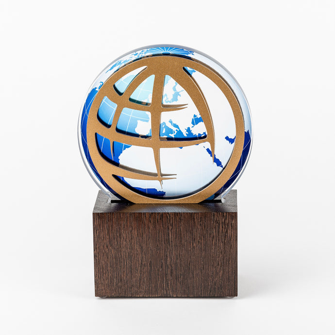 Bespoke gold plated aluminium acrylic wood trophy_Awards and medal studio