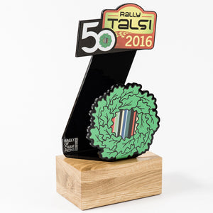 Custom Rally trophy black acrylic oak wood-Awards and medal studio 1
