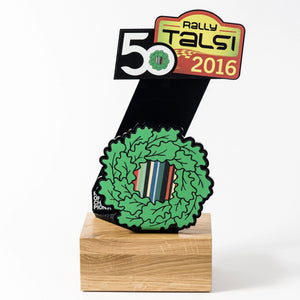 Custom Rally trophy black acrylic oak wood-Awards and medal studio 2