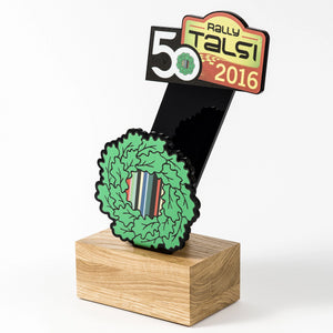 Custom Rally trophy black acrylic oak wood-Awards and medal studio