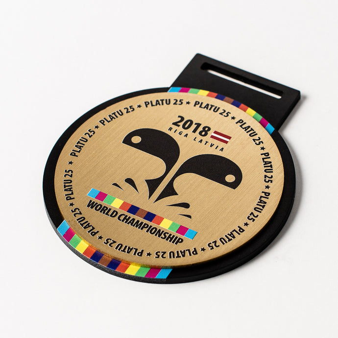 Custom Gold metal medal with full colour print_unique design_Awards and Medal Studio