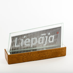 Custom glass metal award_wood base_full colour print_Awards and Medal Studio