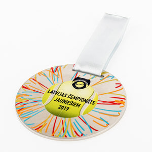 Custom design silver medal for tennis championship_full colour print_Awards and Medal Studio