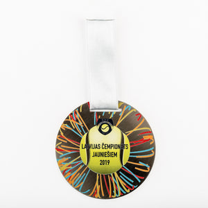 Custom design silver medal for tennis championship_full colour print_Awards and Medal Studio_1