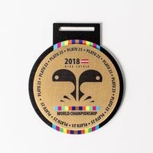 Load image into Gallery viewer, Custom Gold metal medal with full colour print_unique design_Awards and Medal Studio_1