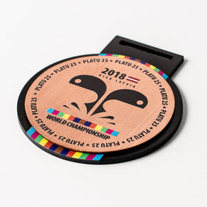 Custom Bronze metal medal with full colour print_unique design_Awards and Medal Studio