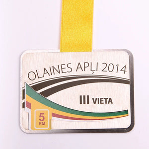 Custom stainless steel medal into layers_laser engraving_full colour print_Awards and Medal Studio