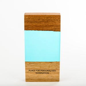Custom hand crafted wood-resin art award with personalised engraving_Awards and Medal Studio 1