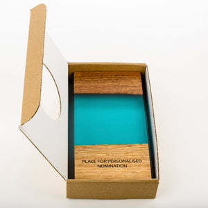 Custom wood-resin art award with personalised engraving_cardboard box_Awards and Medal Studio 1