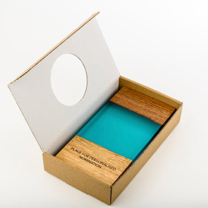 Custom wood-resin art award with personalised engraving_cardboard box_Awards and Medal Studio