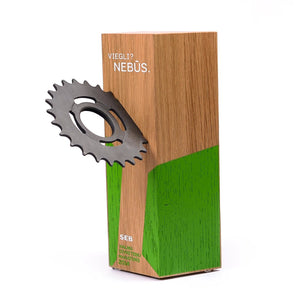 Custom wood block award_with embedded wheel gear_personalised engraving_Awards and Medal Studio