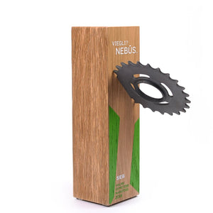Custom wood block award_with embedded wheel gear_personalised engraving_Awards and Medal Studio_1