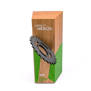 Custom wood block award_with embedded wheel gear_personalised engraving_Awards and Medal Studio_2