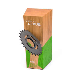 Custom wood block award_with embedded wheel gear_personalised engraving_Awards and Medal Studio_4