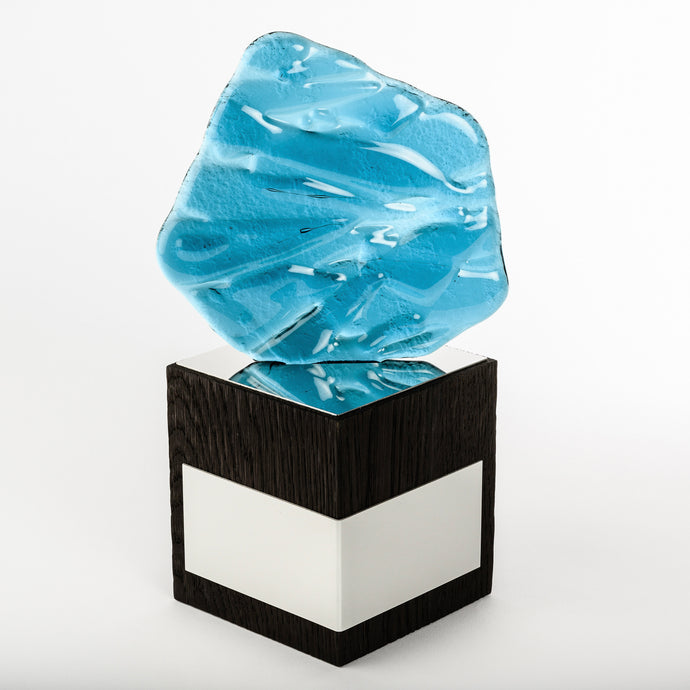Custom design fused glass_ solid hardwood base trophy_bespoke award_design_laser engraving_digital print_creative design_Awards and Medal Studio_1