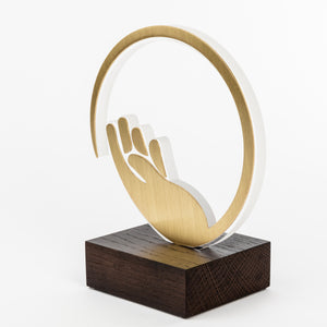 Custom design recognition award for Covid 19_acrylic_brass_wood custom trophy_Awards and Medal Studio_2