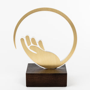 Custom design recognition award for Covid 19_acrylic_brass_wood custom trophy_Awards and Medal Studio