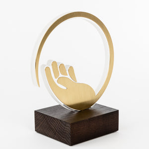 Custom design recognition award for Covid 19_acrylic_brass_wood custom trophy_Awards and Medal Studio_1