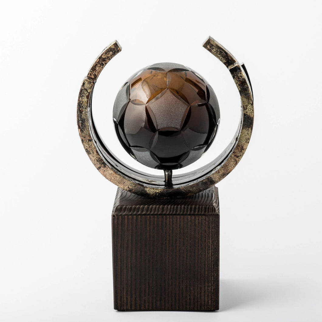 Football eco friendly custom crystal forged metal trophy_Awards and medal studio