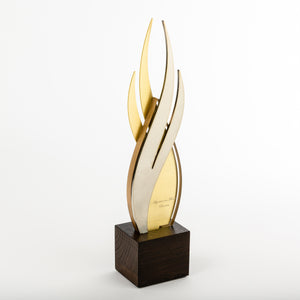 Iconic custom metal acrylic wood award_flame shape_laser engraving_Awards and Medal Studio 2