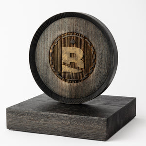 Custom wood trophy with laser engraving