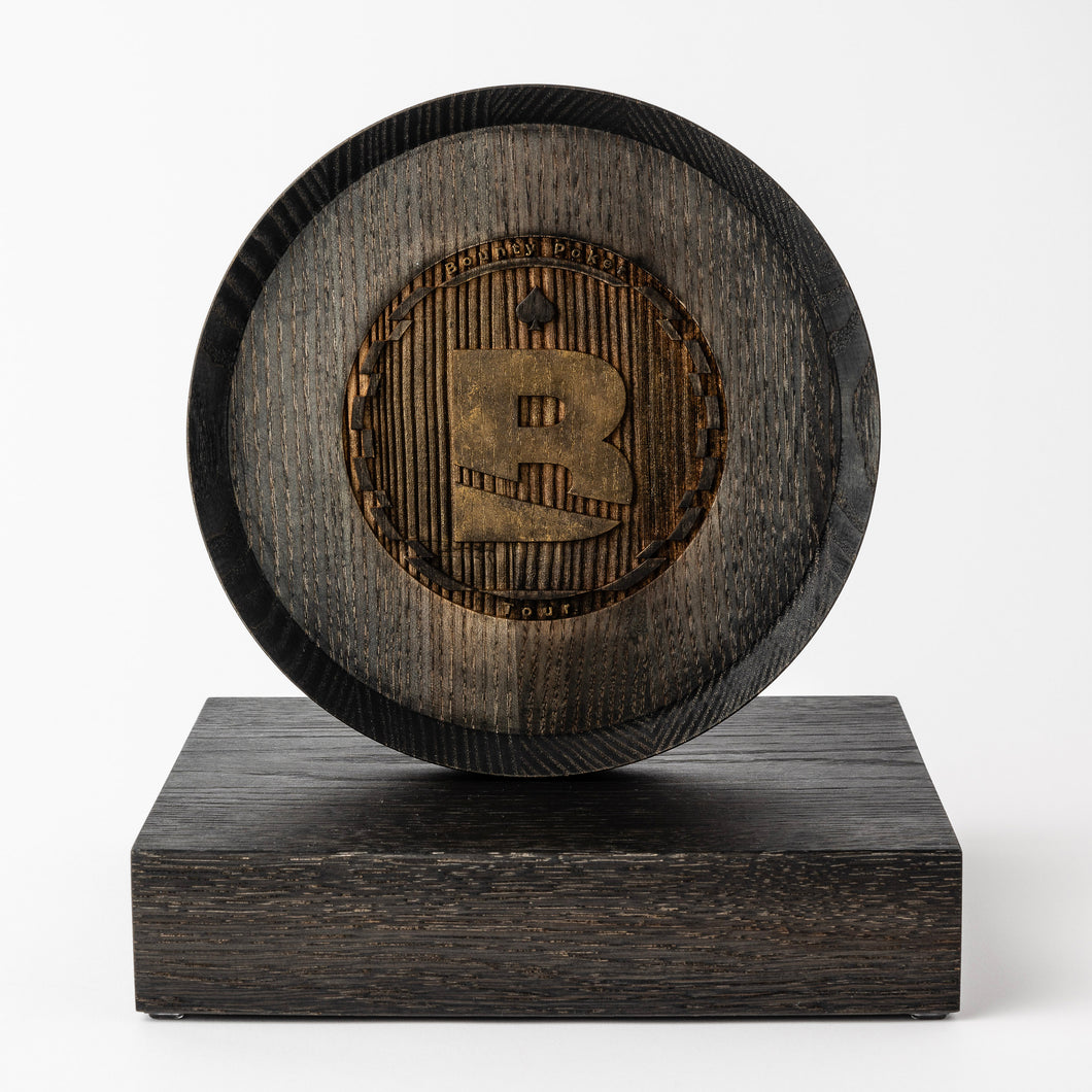 Unique wood trophy with laser engraved logo
