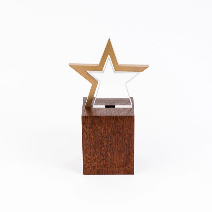Custom gold acrylic wood award RO4 awards and medal studio 2