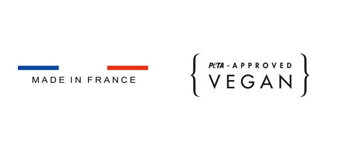 Logo made in France et peta approved