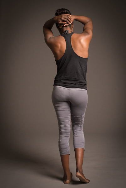 delphine top, loose layering tank with stunning cowl neck and racer back in soft bamboo/spandex