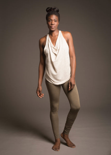 delphine top, loose layering tank with stunning cowl neck and racer back in cool linen/knit fabric