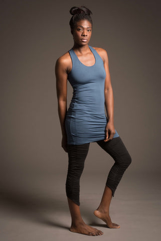 zen nomad origin yoga tank dress with built-in bra in soft bamboo/spandex
