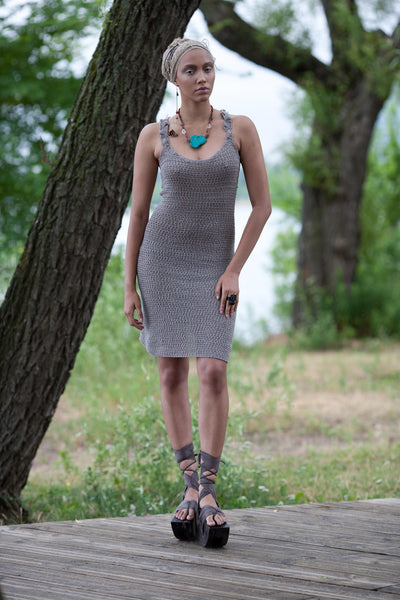 Thieves hand crocheted and naturally dyed dress with spine detail on back