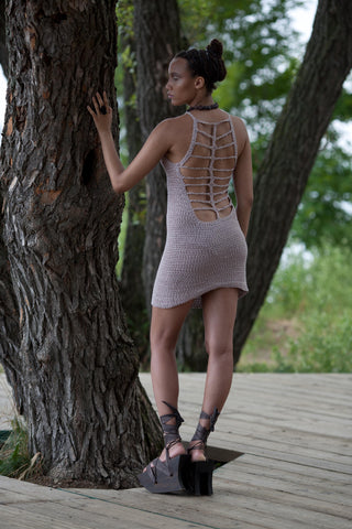 Thieves hand crocheted and naturally dyed ladderback dress