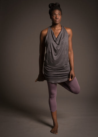 delphine dress, loose layering tank dress with stunning cowl neck and racer back in linen/knit