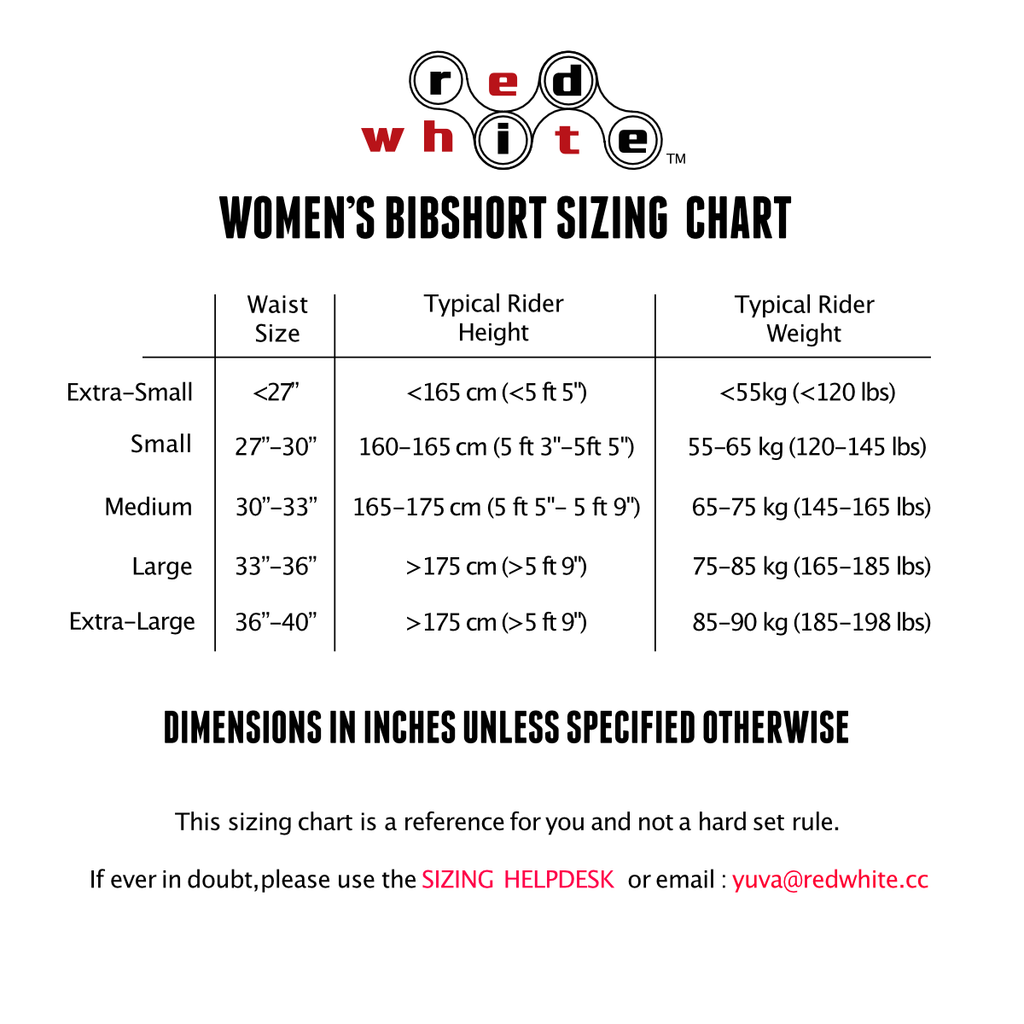 RedWhite Apparel women's bibshort sizing chart