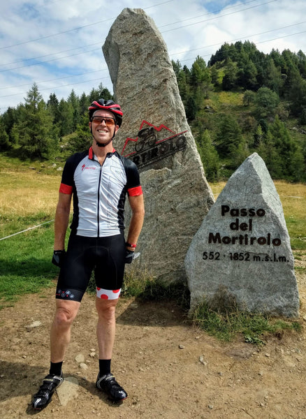 RedWhite Long Distance Bibshorts in the Passo del Mortiloro