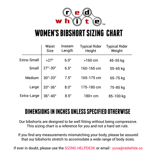 Women's Bibshort Sizing Chart
