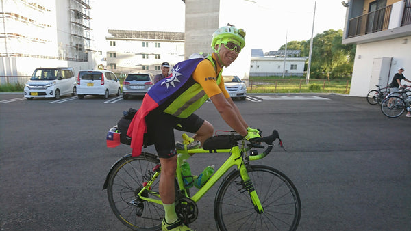 Jason Ding in RedWhite Long Distance bibshorts in Taiwan