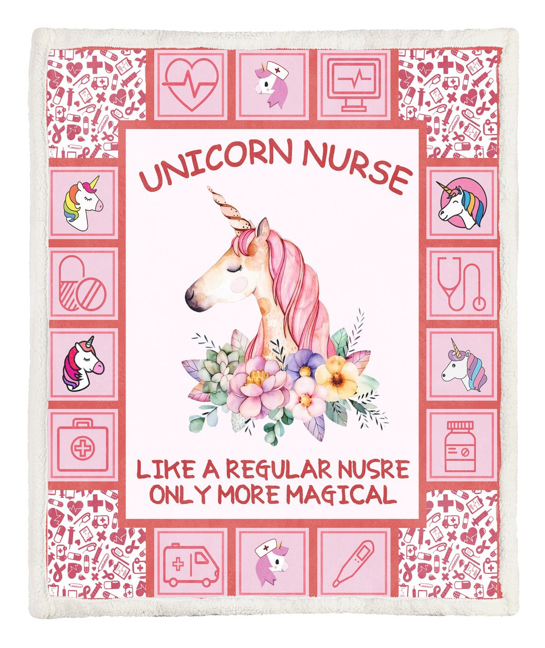 Unicorn Nurse Throw Blanket TABCCC19103953