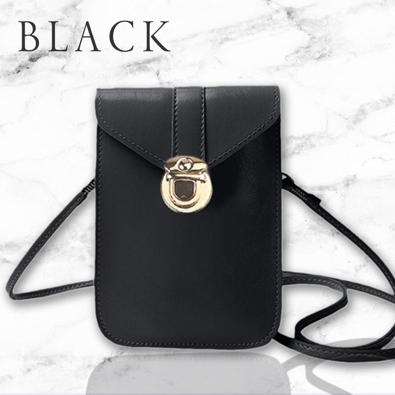 Touch Screen Waterproof Leather Cross-body Phone Bag for Iphones, Samsung & more - Black - Nestzones