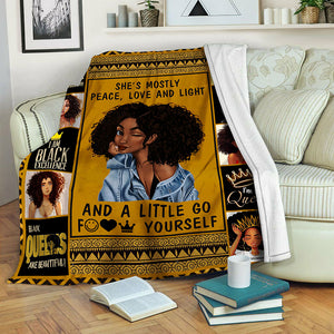 Black Woman Fleece Blanket CCC19103614