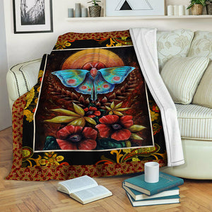 Blue Butterfly And Red Flowers Fleece Blanket CCC19101463
