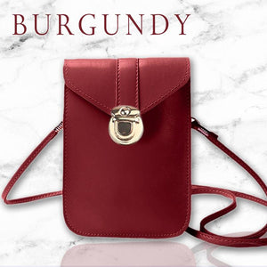 Touch Screen Waterproof Leather Cross-body Phone Bag for Iphones, Samsung & more - Burgundy - Nestzones
