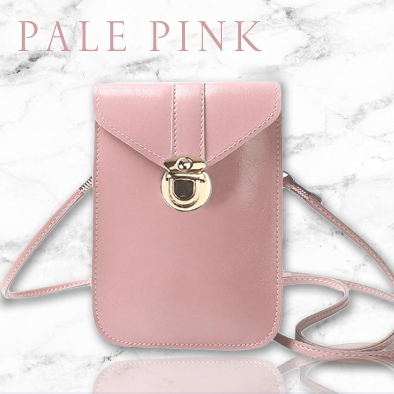Touch Screen Waterproof Leather Cross-body Phone Bag for Iphones, Samsung & more - Pale Pink - Nestzones