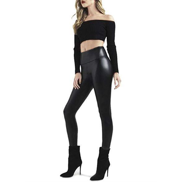 Black Faux Leather High Waisted Leggings (Plus Size Available) - XL - Awesales