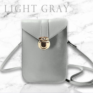 Touch Screen Waterproof Leather Cross-body Phone Bag for Iphones, Samsung & more - Light Gray - Nestzones