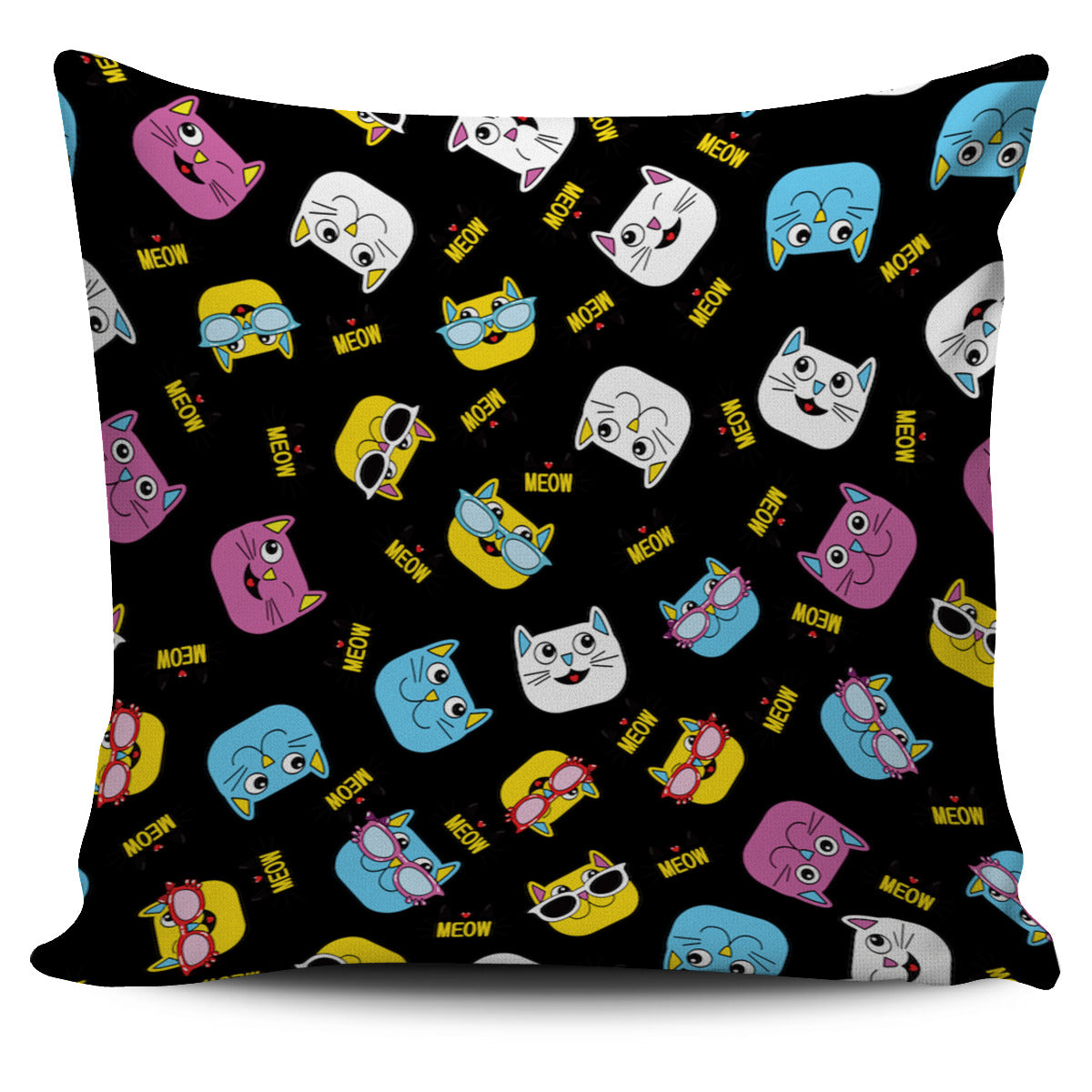 Pretty Abstract Cats Cat Pillow Cover